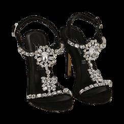 Sandalias gioiello en microfibra color negro, tacón 11,50 cm , OPORTUNIDADES, 152131530MFNERO036, 002 preview