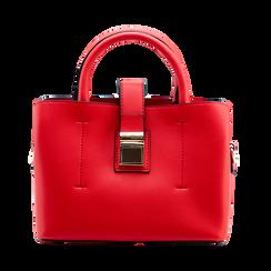 Mini bag rossa in ecopelle con tracolla a bandoliera, Saldi Borse, 122429139EPROSSUNI, 001 preview