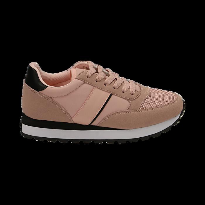 Sneakers nude in tessuto tecnico, Primadonna, 162619079TSNUDE035