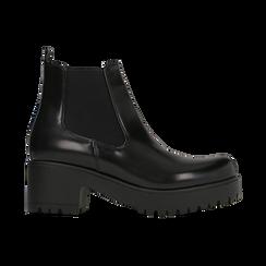 Chelsea Boots neri con suola alta, tacco 5,5 cm, Scarpe, 122808601ABNERO, 001 preview