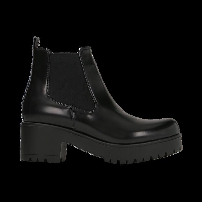 Chelsea Boots neri con suola alta, tacco 5,5 cm, Scarpe, 122808601ABNERO
