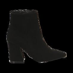 Ankle boots neri, tacco trapezio 8,5 cm , Stivaletti, 144961020MFNERO035, 001 preview