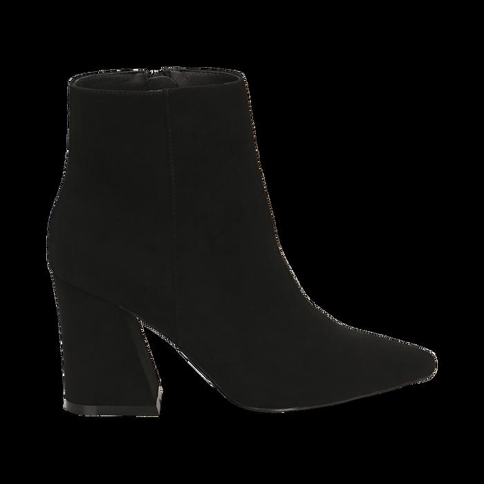 Ankle boots neri, tacco trapezio 8,5 cm , Stivaletti, 144961020MFNERO035