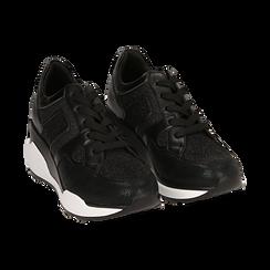 Sneakers nere, zeppa 7 cm , Primadonna, 162800947EPNERO036, 002 preview