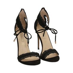 Sandali neri in microfibra, tacco 11 cm, Primadonna, 152122111MFNERO038, 002 preview