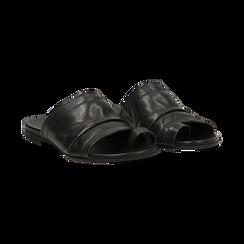Sandali neri in vera pelle,