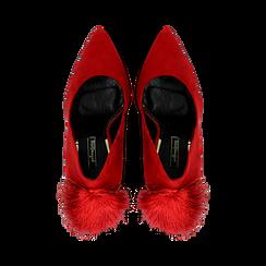 Décolleté rosse con pon-pon, tacco stiletto 11,5 cm, Primadonna, 122100530MFROSS036, 004 preview