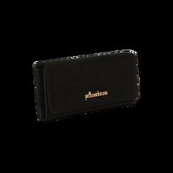 Portafoglio nero in microfibra scamosciata con 12 vani, Borse, 122200022MFNEROUNI, 003 preview