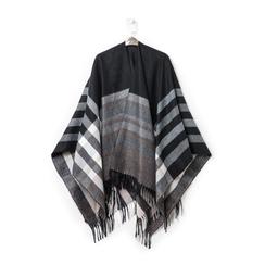 Poncho nero a righe bianche in tessuto , Abbigliamento, 14B404073TSNEROUNI, 003 preview