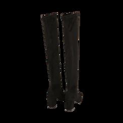Overknee neri in microfibra, tacco 7,5 cm , Scarpe, 143021702MFNERO036, 003 preview