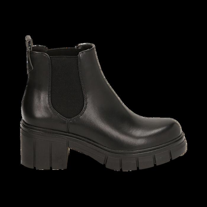 Chelsea boots neri, tacco 5 cm , Primadonna, 160621171EPNERO038