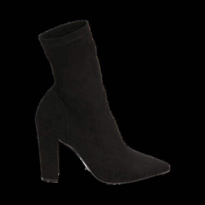 Ankle boots a punta neri in microfibra, tacco 10 cm , Stivaletti, 142172633MFNERO035