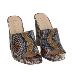 Mules blu/beige in eco-pelle snake print, tacco 10,50 cm, Chaussures, 152709445PTBLBE036, 002a