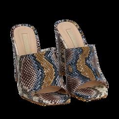 Mules blu/beige in eco-pelle snake print, tacco 10,50 cm, Zapatos, 152709445PTBLBE036, 002a