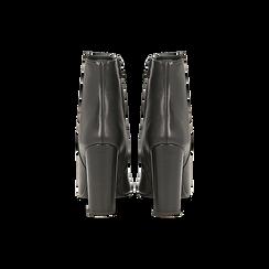 Tronchetti neri in vera pelle, tacco 10 cm, Scarpe, 12D615110VINERO, 003 preview
