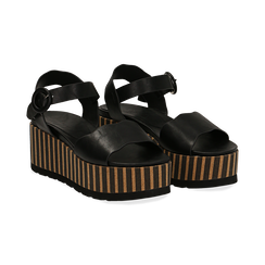 Sandali platform neri in eco-pelle, zeppa optical 7,50 cm , Primadonna, 134901231EPNERO035, 002 preview
