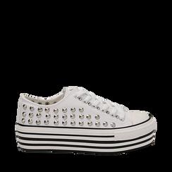 Sneakers bianche in canvas con borchie, platform 4 cm, Scarpe, 132619223CABIAN035, 001a