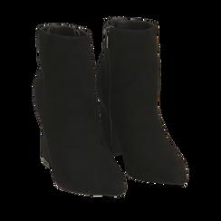 Ankle boots neri in microfibra, tacco 10 cm , 164822754MFNERO036, 002a
