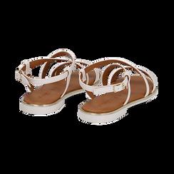 Sandali flat bianchi in eco-pelle, Primadonna, 136102003EPBIAN, 004 preview