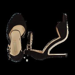 Sandali neri in microfibra, tacco stiletto 10,5 cm, Sandali con tacco, 132131511MFNERO037, 003 preview