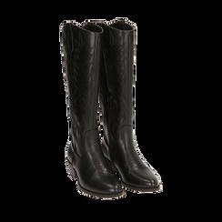 Santiags noirs, talon 4,5 cm, CHAUSSURES, 170550211EPNERO035, 002a