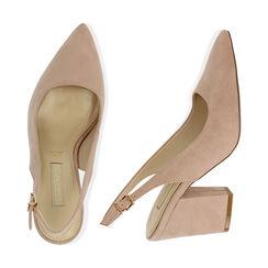 Slingback nude de microfibra, tacón 8,50 cm, Zapatos, 172183402MFNUDE037, 003 preview