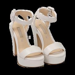 Sandalias en eco-piel color blanco, tacón 12,50 cm , OPORTUNIDADES, 158480410EPBIAN037, 002 preview