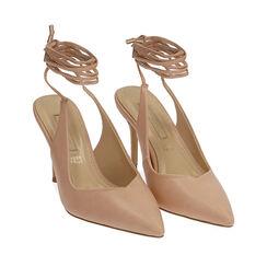 Slingback lace-up nude, tacón 9 cm, Zapatos, 172106620EPNUDE036, 002a