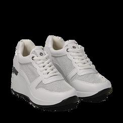 Sneakers bianche in eco-pelle con zeppa, Scarpe, 132008360EPBIAN036, 002a