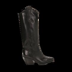 Camperos neri in pelle di vitello, tacco 5 cm, Primadonna, 16A500902VINERO036, 001a