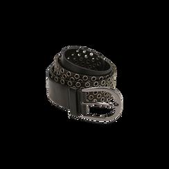 Cintura nera in eco-pelle con borchie, Abbigliamento, 144010320EPNEROUNI, 001 preview