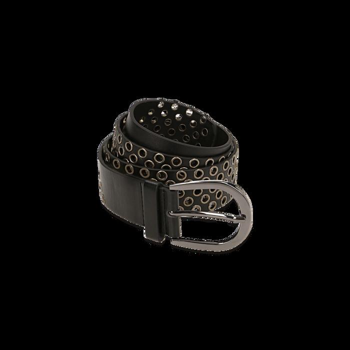 Cintura nera in eco-pelle con borchie, Abbigliamento, 144010320EPNEROUNI