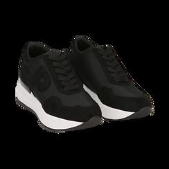 Sneakers nere in tessuto tecnico, suola 5,50 cm , Scarpe, 142898983TSNERO039, 002 preview