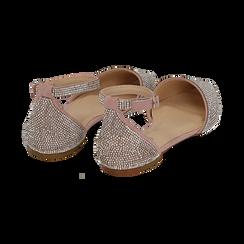 Ballerine gioiello nude in microfibra, Scarpe, 154968041MPNUDE036, 004 preview
