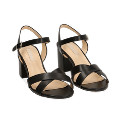 Sandali neri in eco-pelle, tacco 7 cm , PROMOTIONS, 152990638EPNERO036, 002 preview