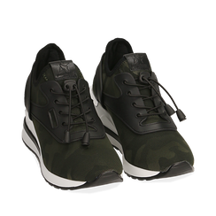 Sneakers camouflage in tessuto con zeppa, Sneakers, 152803421TSMILI035, 002a