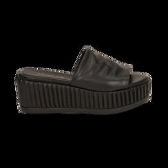 Zeppe platform nere in eco-pelle, zeppa 7 cm, Saldi, 132147652EPNERO038, 001 preview