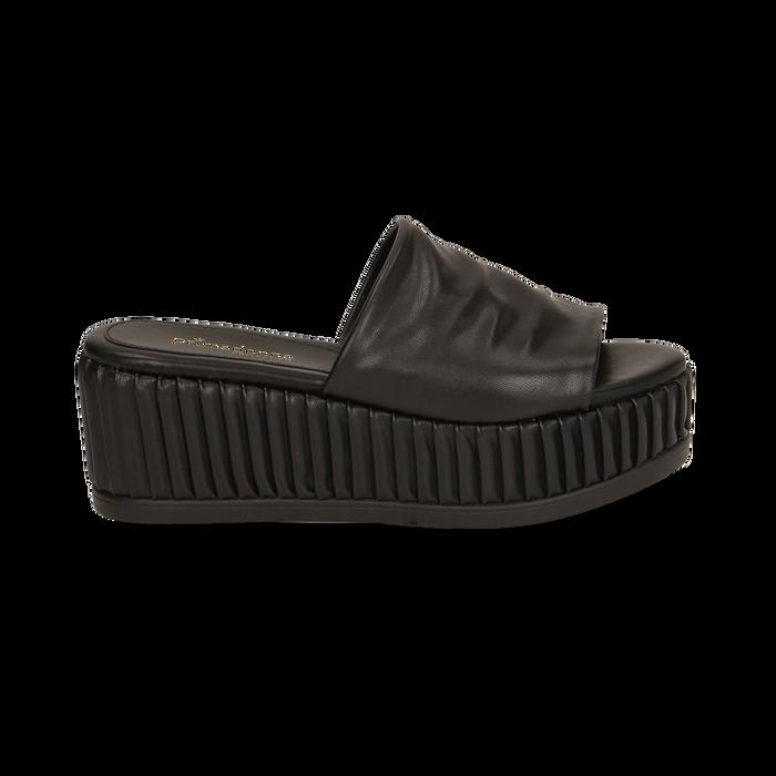 Zeppe platform nere in eco-pelle, zeppa 7 cm, Saldi, 132147652EPNERO038