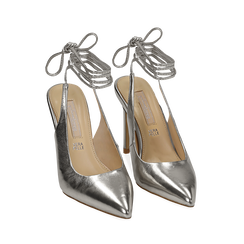 Slingback argento in eco-pelle laminata, tacco 10 cm , Primadonna, 152120715LMARGE035, 002 preview