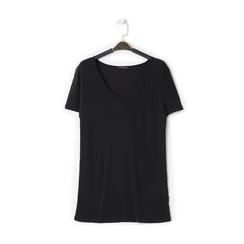 T-shirt con scollo a V nera in tessuto, Saldi Estivi, 13F750713TSNEROL, 001 preview