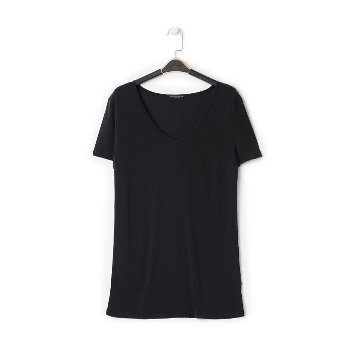 T-shirt con scollo a V nera in tessuto, Saldi Estivi, 13F750713TSNEROL