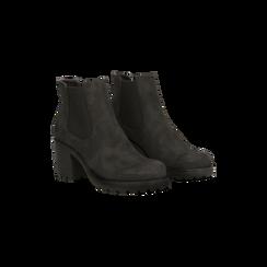 Chelsea Boots neri in nabuk, tacco medio 7 cm, Primadonna, 120800819NBNERO037, 002 preview