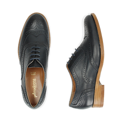 Oxford de piel en color azul marino, Zapatos, 159908418PEBLUE036, 003 preview