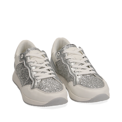 Sneakers argento in glitter, Sneakers, 152669937GLARGE035, 002a