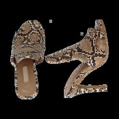 Mules beige pitone in eco-pelle, tacco stiletto 10 cm, Primadonna, 134833121PTBEIG037, 003 preview