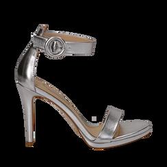 Sandali argento in laminato, tacco stiletto 10 cm , Saldi, 132127405LMARGE035, 001a