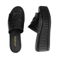Zeppe platform nere in eco-pelle, zeppa 7 cm, Saldi, 132147652EPNERO038, 003 preview