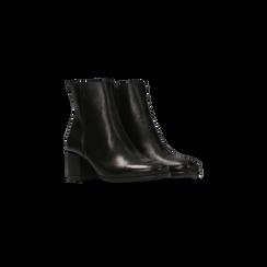 Tronchetti neri in vera pelle con elastico, tacco quadrato 5 cm, Primadonna, 127722101PENERO035, 002