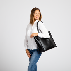 Borsa shopper nera in ecopelle con doppia zip anteriore, Borse, 122300304EPNEROUNI, 006 preview