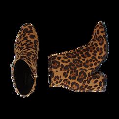 Ankle boots leopard in microfibra, tacco 7,5 cm , Stivaletti, 142762715MFLEOP037, 003 preview